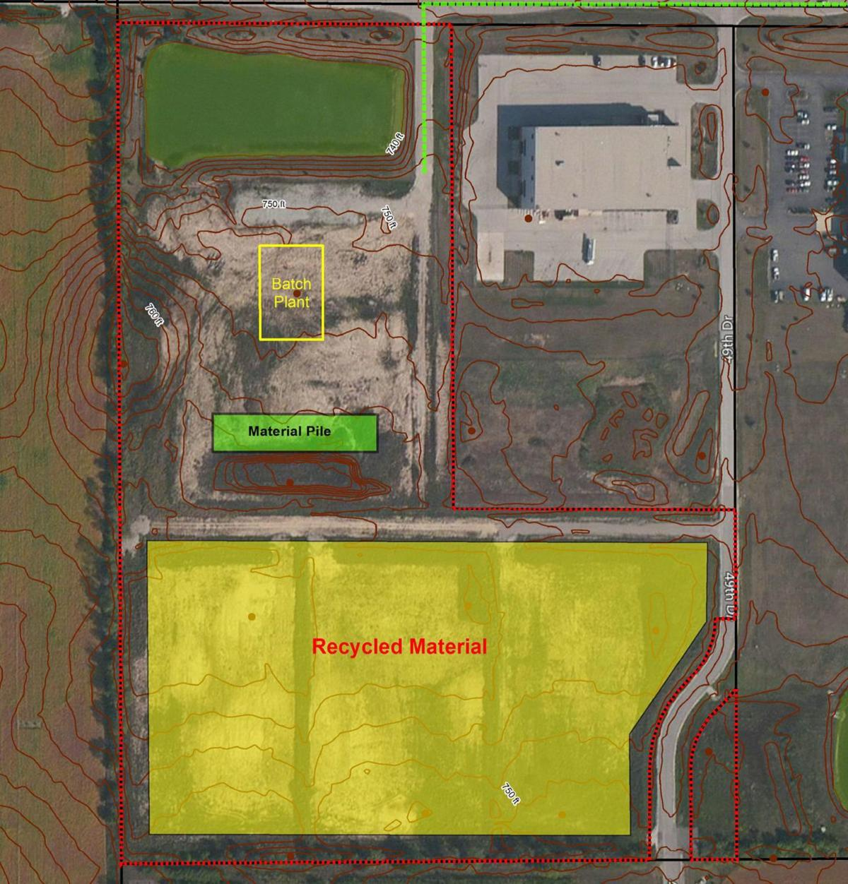 Proposed concrete plant location