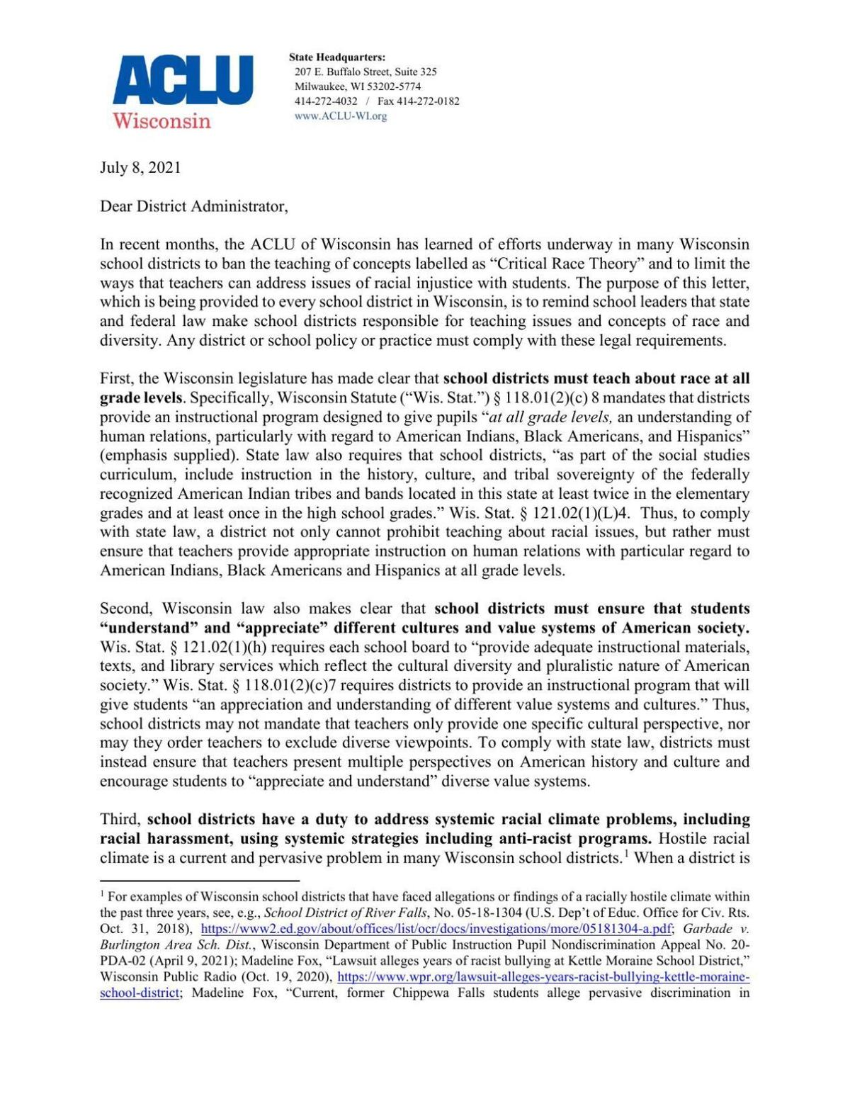 ACLU CRT letter