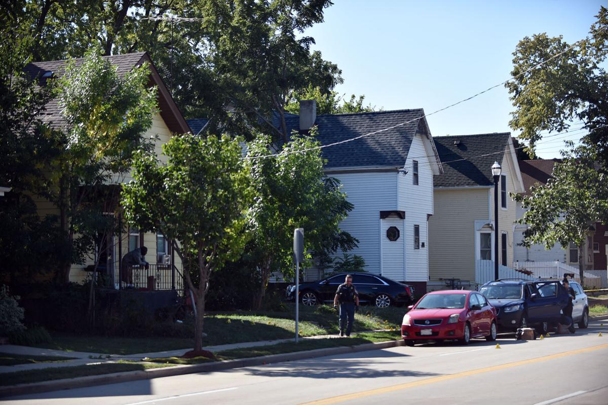 From scene of triple shooting on Racine Street, as of Monday morning