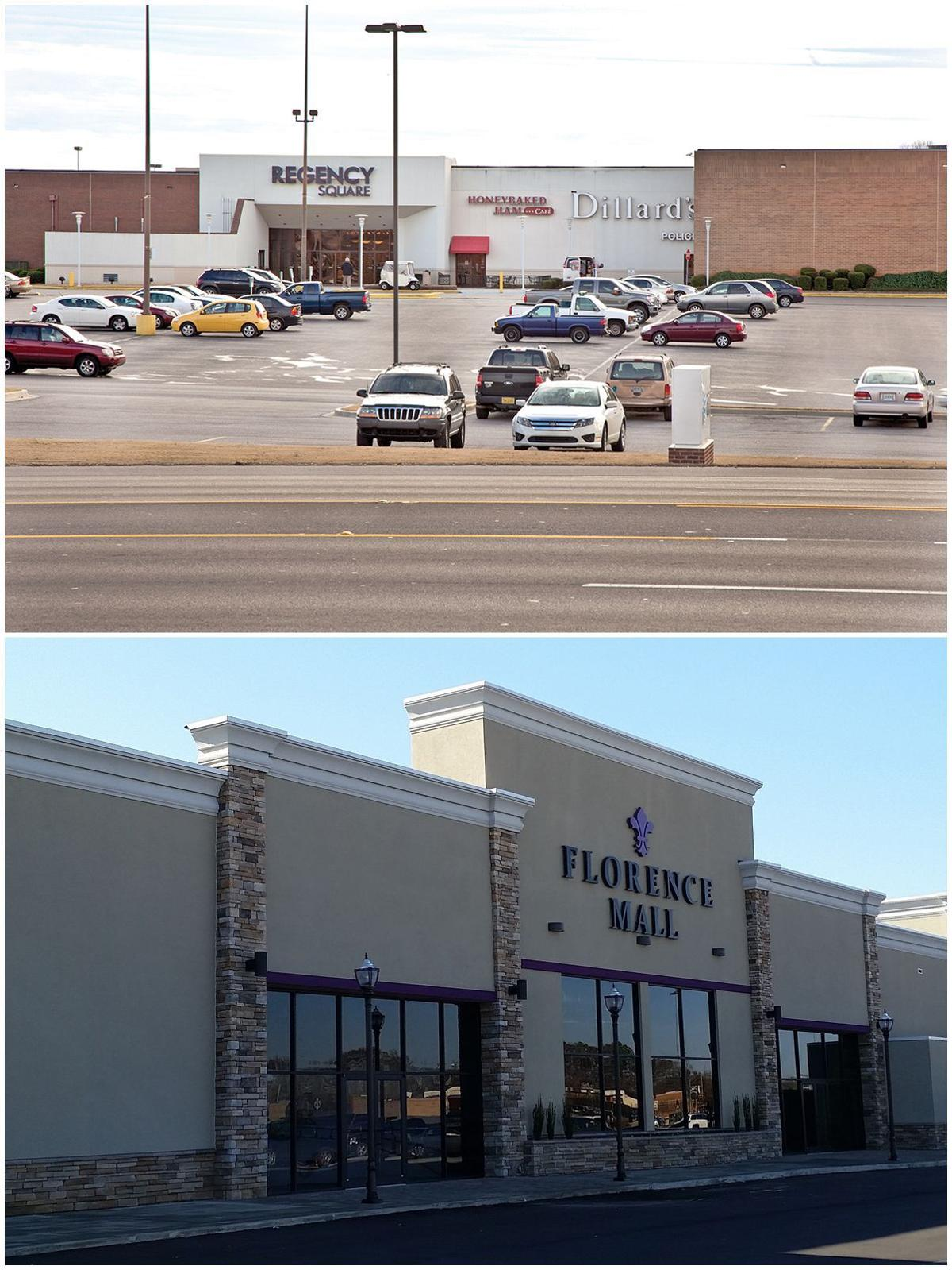 Exterior of Florence Mall, before and after