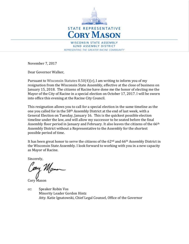Rep. Cory Mason's resignation letter