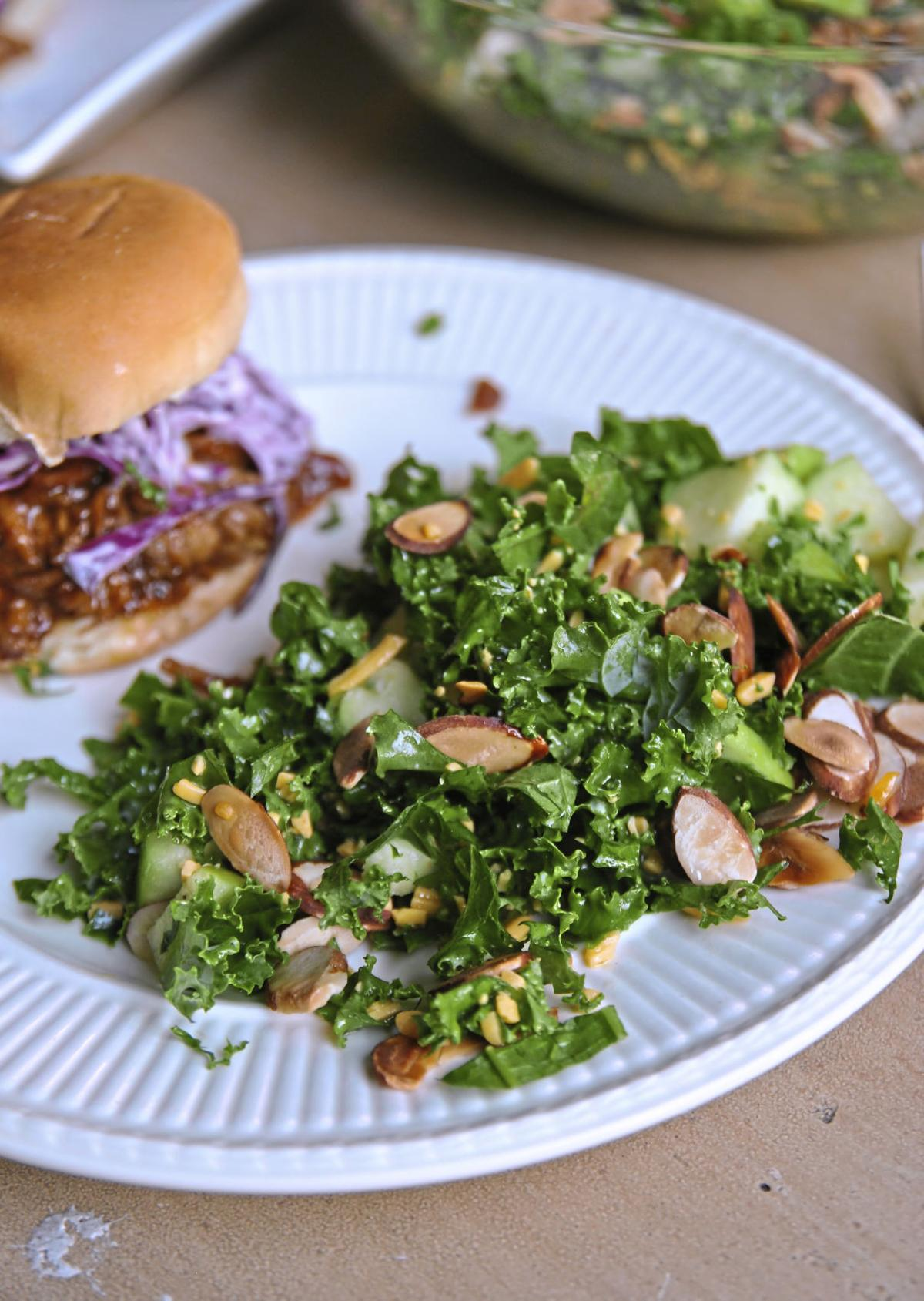 Kale and apple salad with toasted nuts