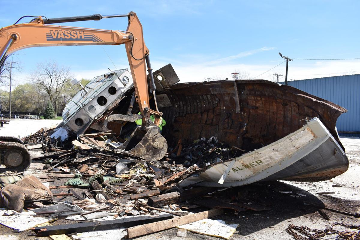 Palmer boat dismantled at former azarian marina local for Racine harbor fishing report