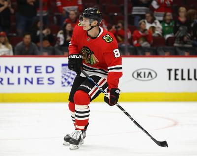Dominik Kubalik of the Chicago Blackhawks participates in warm-ups before a preseason game against the Washington Capitals at United Center on September 25, 2019, in Chicago.
