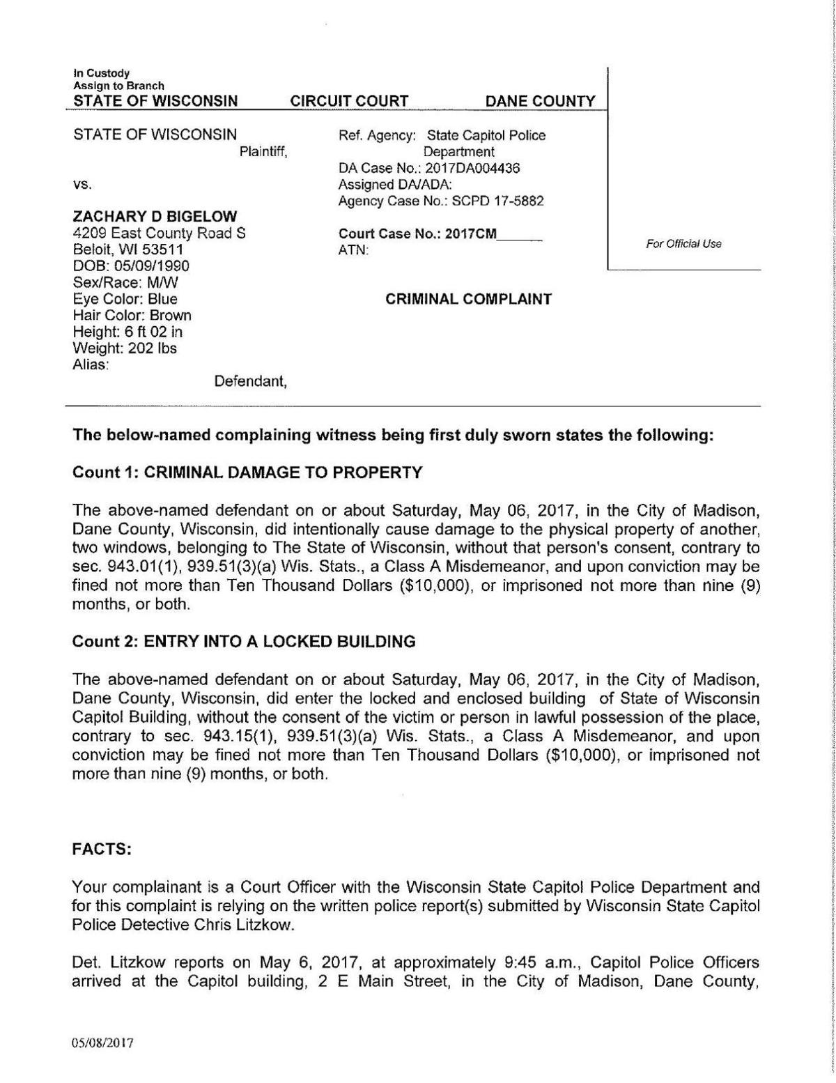 Zachary Bigelow criminal complaint | State and Regional