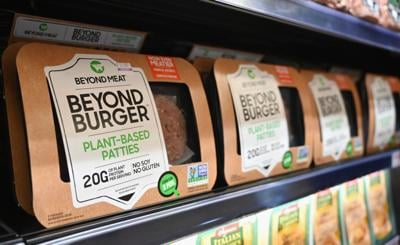 Beyond Meat and Beyond Burger patties made from plant-based substitutes for meat products sit on a shelf for sale on November 15, 2019 in New York City.