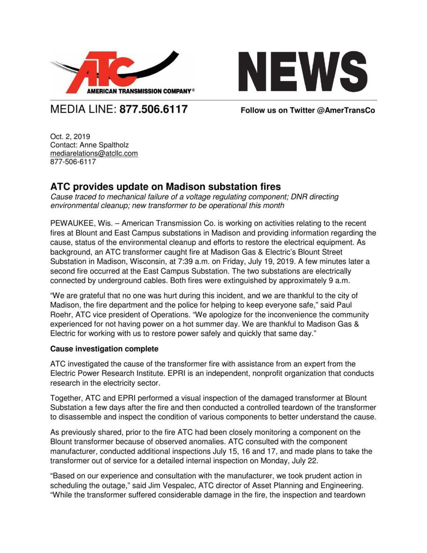 ATC news release 10-2-19