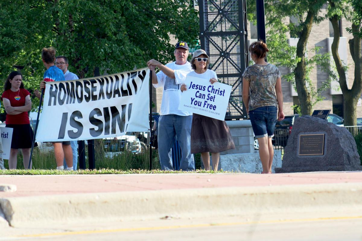 Demonstrators protest conversion therapy ban