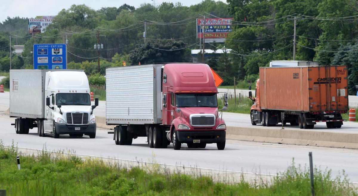 Trucks on Interstate 94