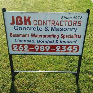JBK Contractors Yard Sign