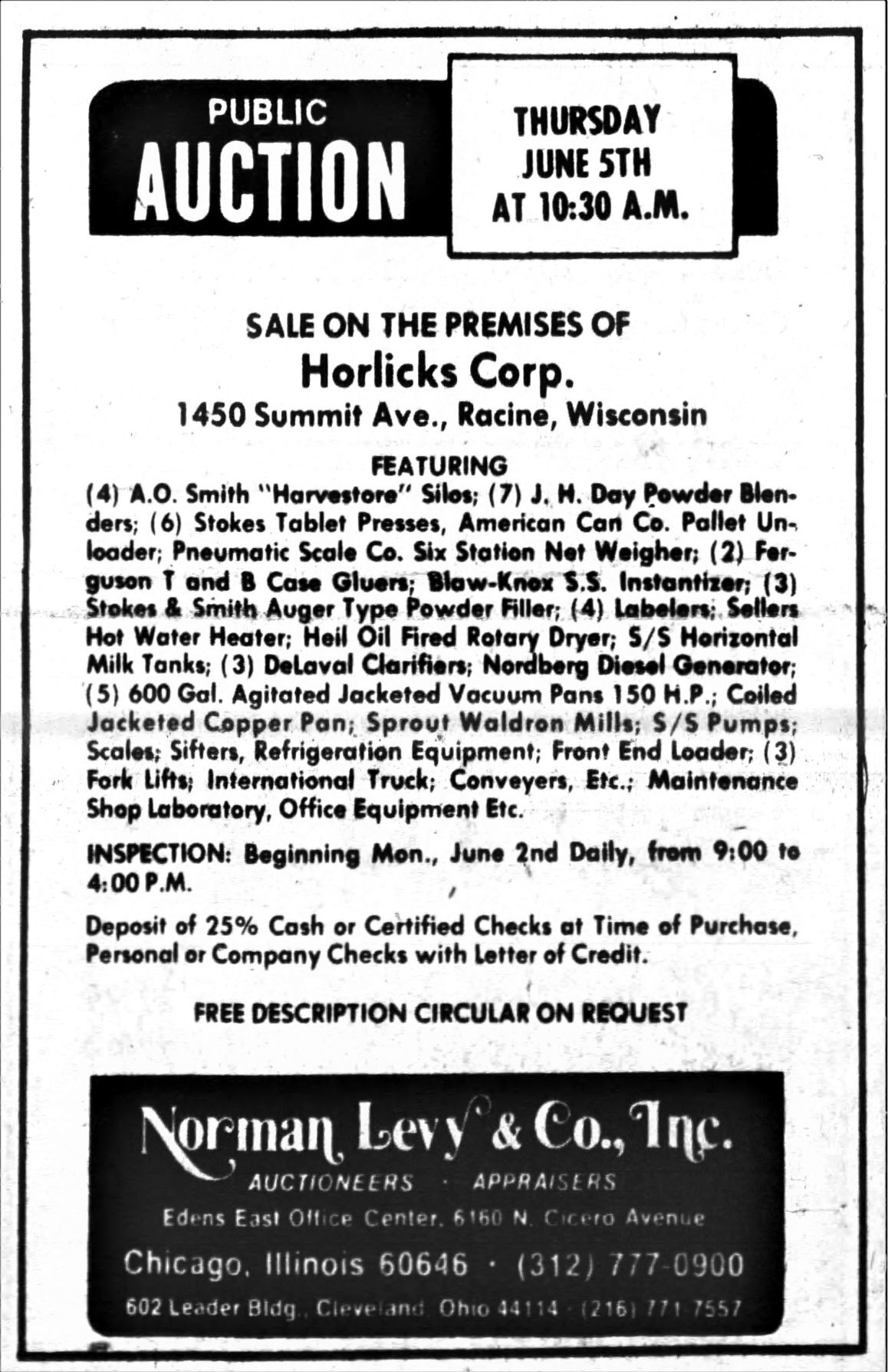 Horlick's Malted Milk - Racine plant auction ad, May 1975