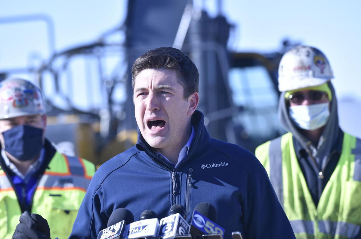 U.S. Rep. Bryan Steil speaks at a Yorkville job site