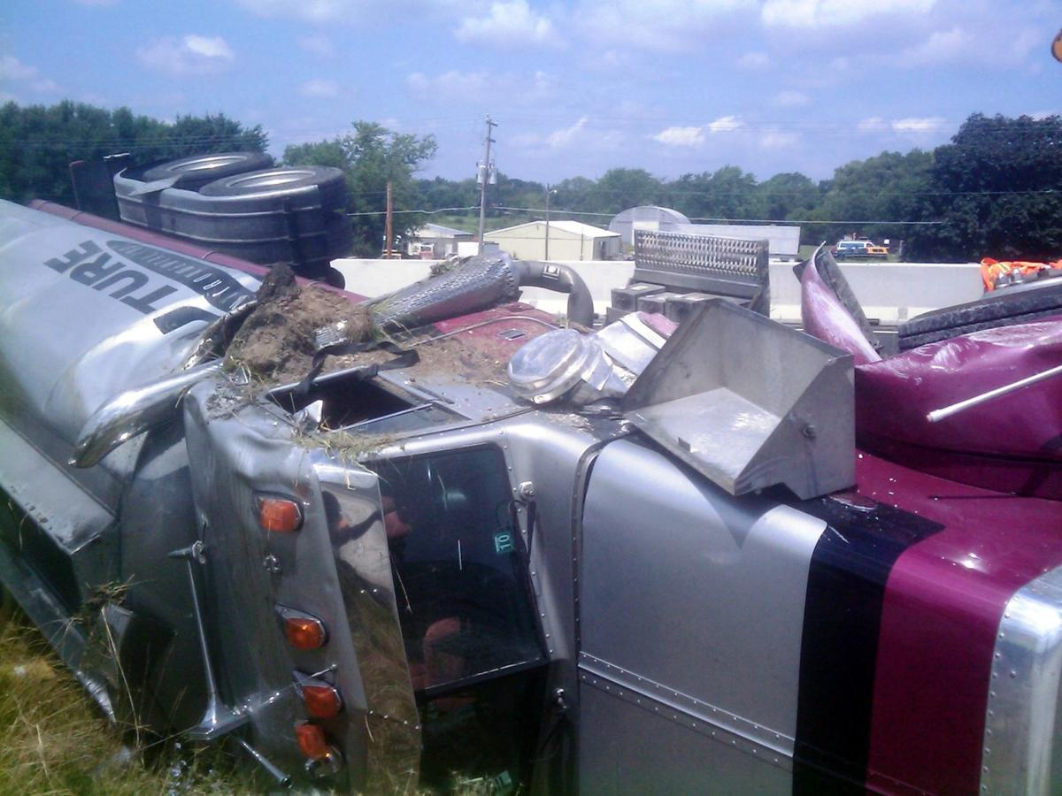 truck turned over