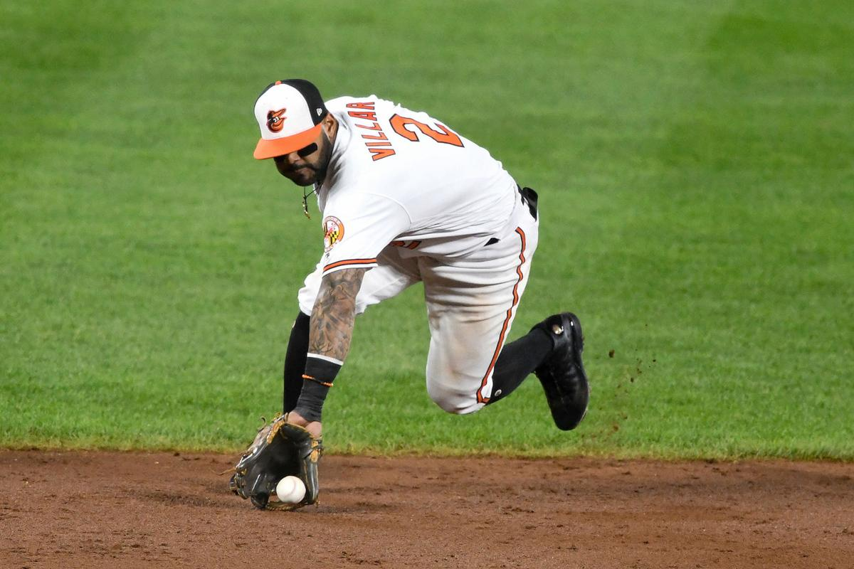 Jonathan Villar (2) of the Baltimore Orioles fields a ground ball during a baseball game against the Toronto Blue Jays at Oriole Park at Camden Yards on Sept. 19, 2019 in Baltimore, Md. The Miami Marlins on Monday acquired Villar in exchange for minor-league left-handed pitcher Easton Lucas.