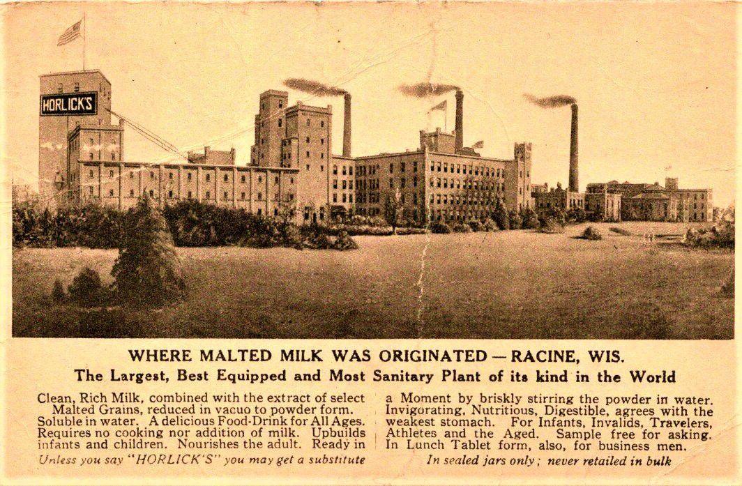 Horlick's Malted Milk Co. postcard, 1909
