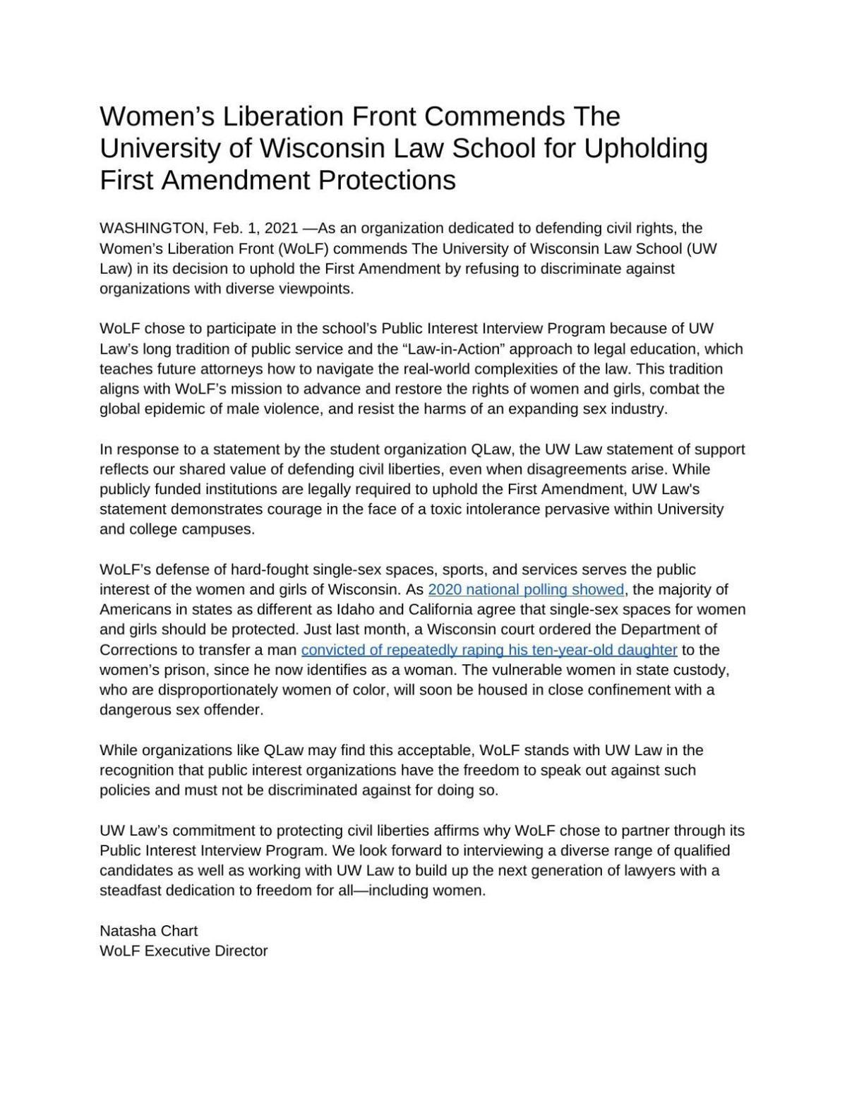WoLF Statement on UW Law.pdf