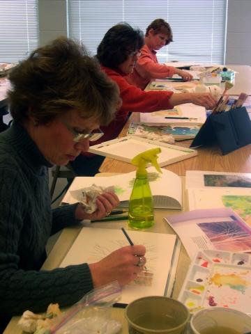 Watercolor class at RAM's Wustum Museum