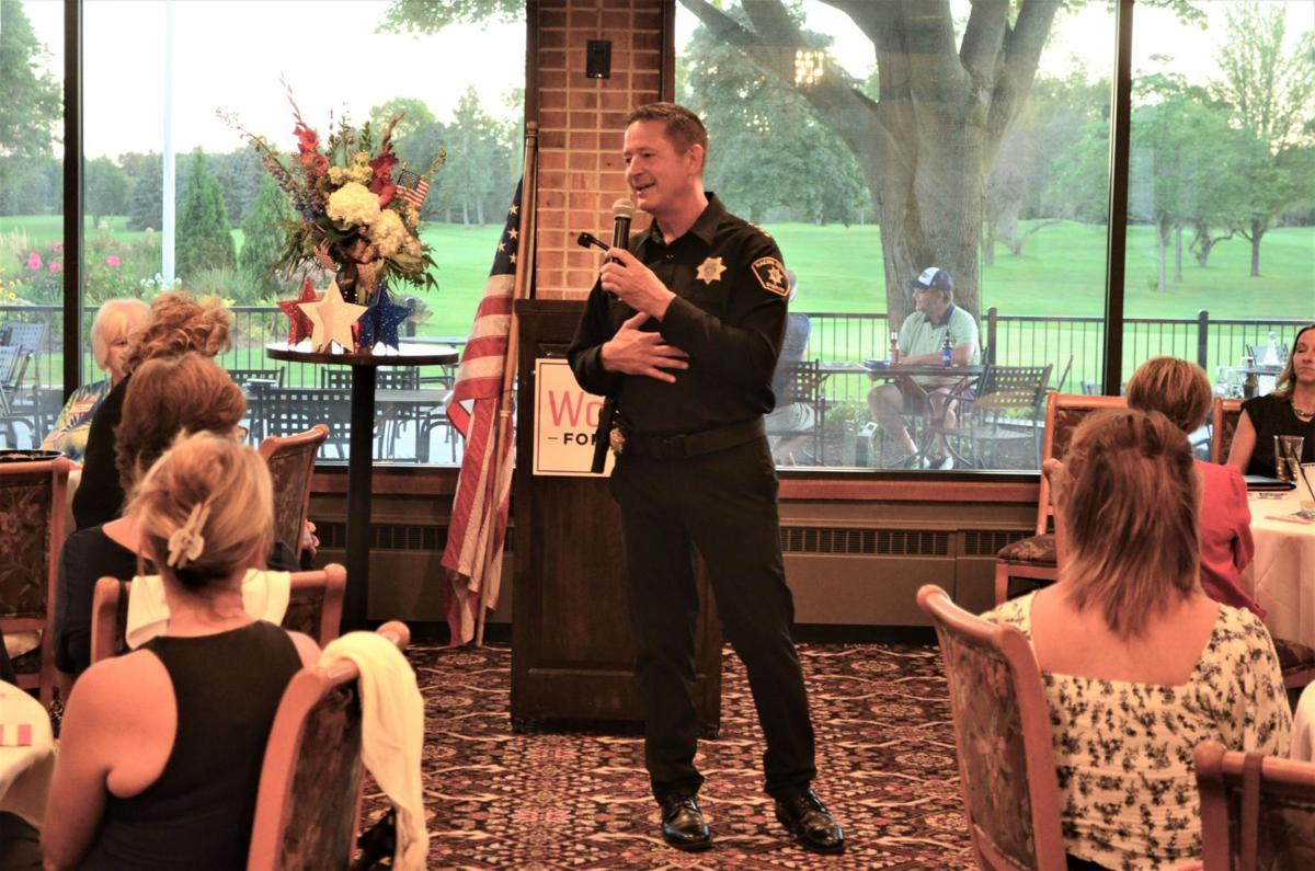 Racine County Sheriff Christopher Schmaling addresses gathering of Republican women on Sept. 2, 2020 at Meadowbrook Country Club