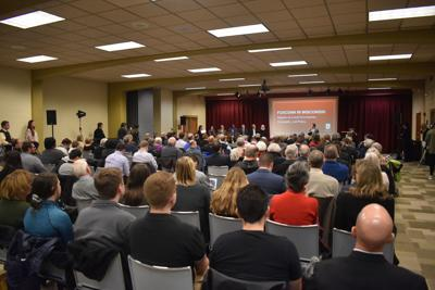 Crowd at Carthage College Foxconn panel