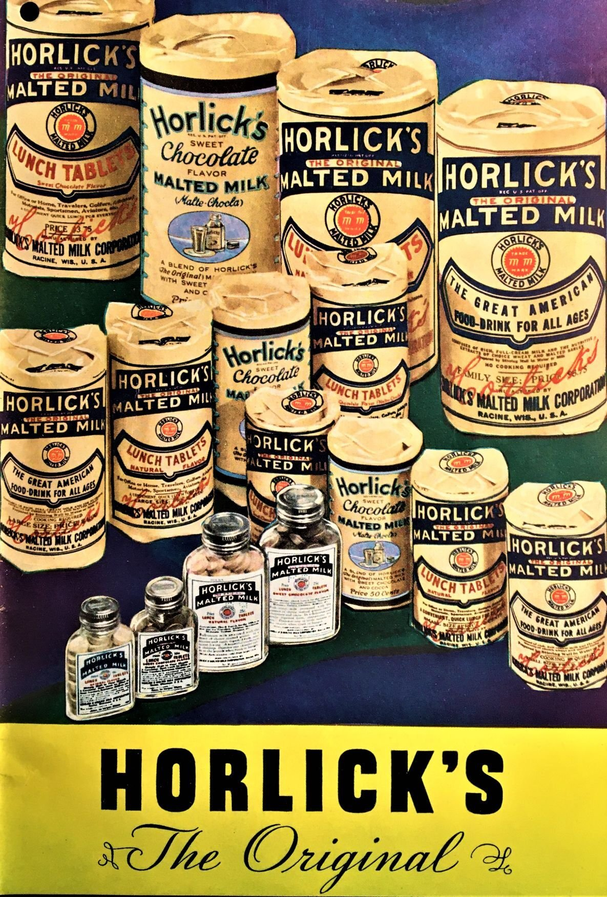 1937 color Horlick's Malted Milk ad showing product line, contemporary packaging