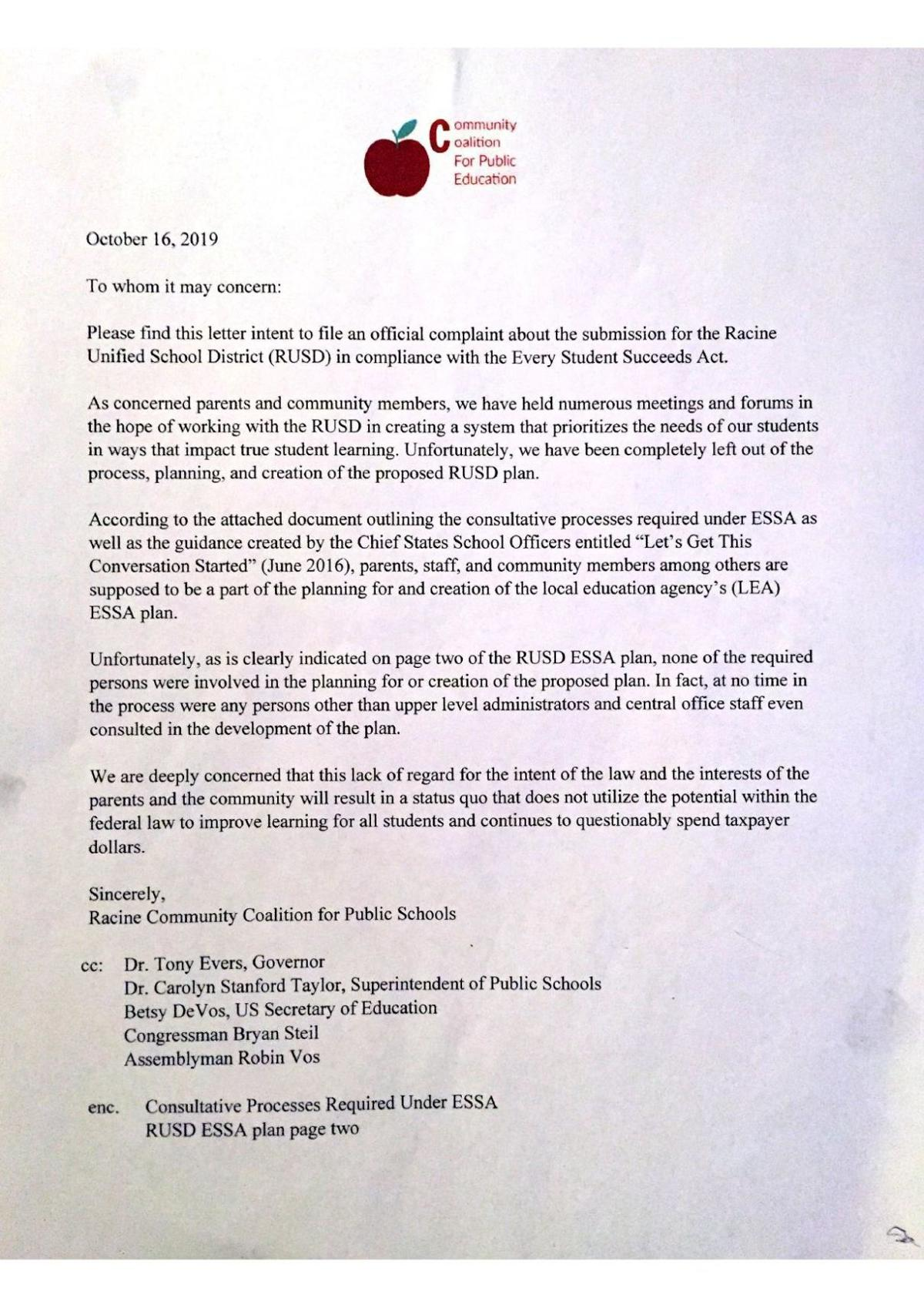 Letter from Racine Community Coalition for Public Schools announcing intent to filed complaint with DPI against RUSD