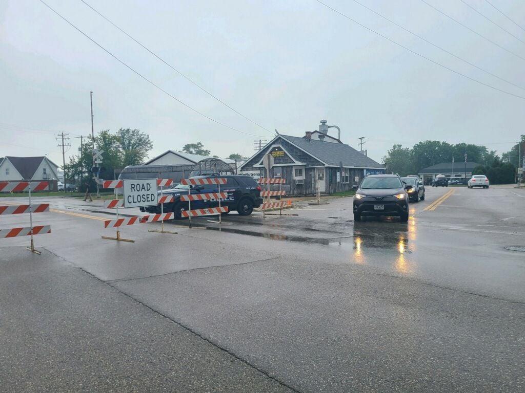 Law enforcement restricting traffic in Franksville