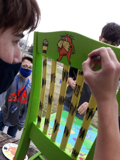 cchs student painting chair