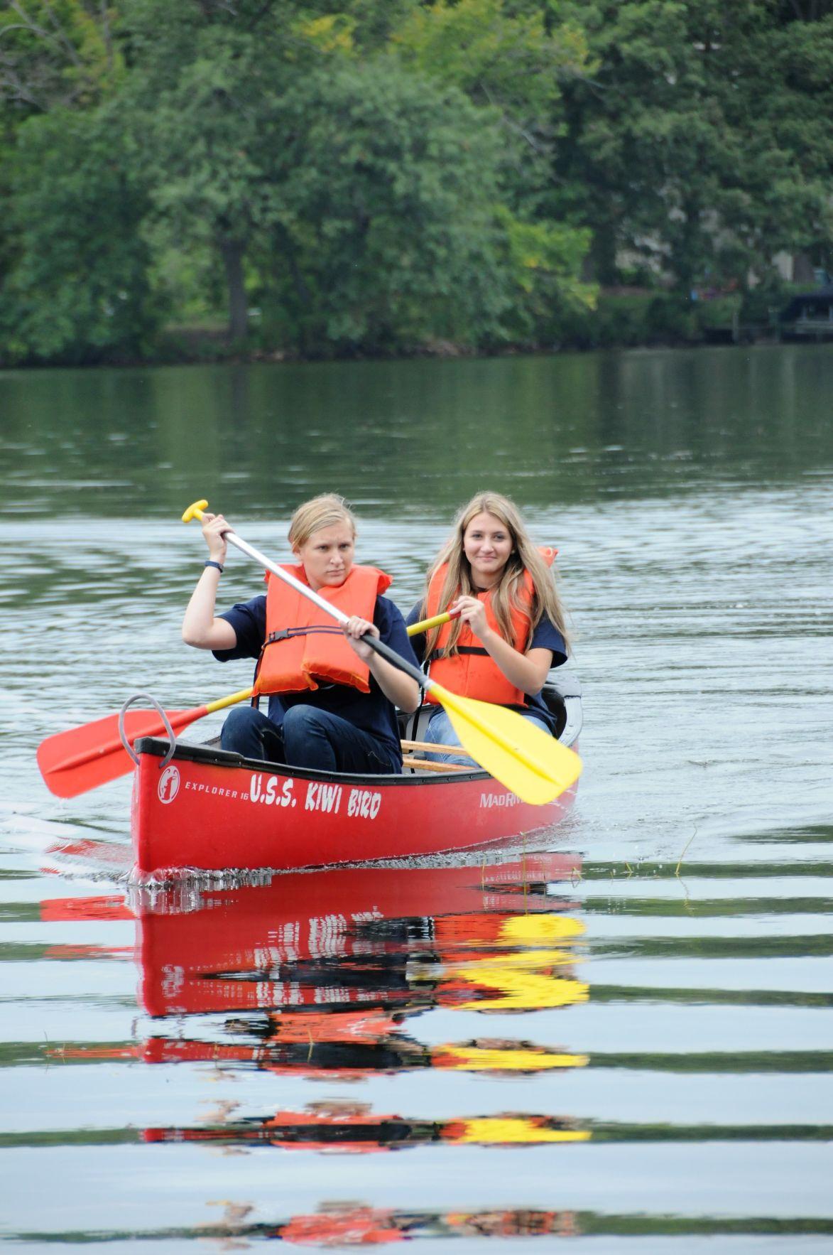 Racine Lutheran High School students learn to canoe on Lake Beulah