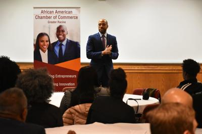 Barnes speaking to African American Chamber of Commerce Greater Racine