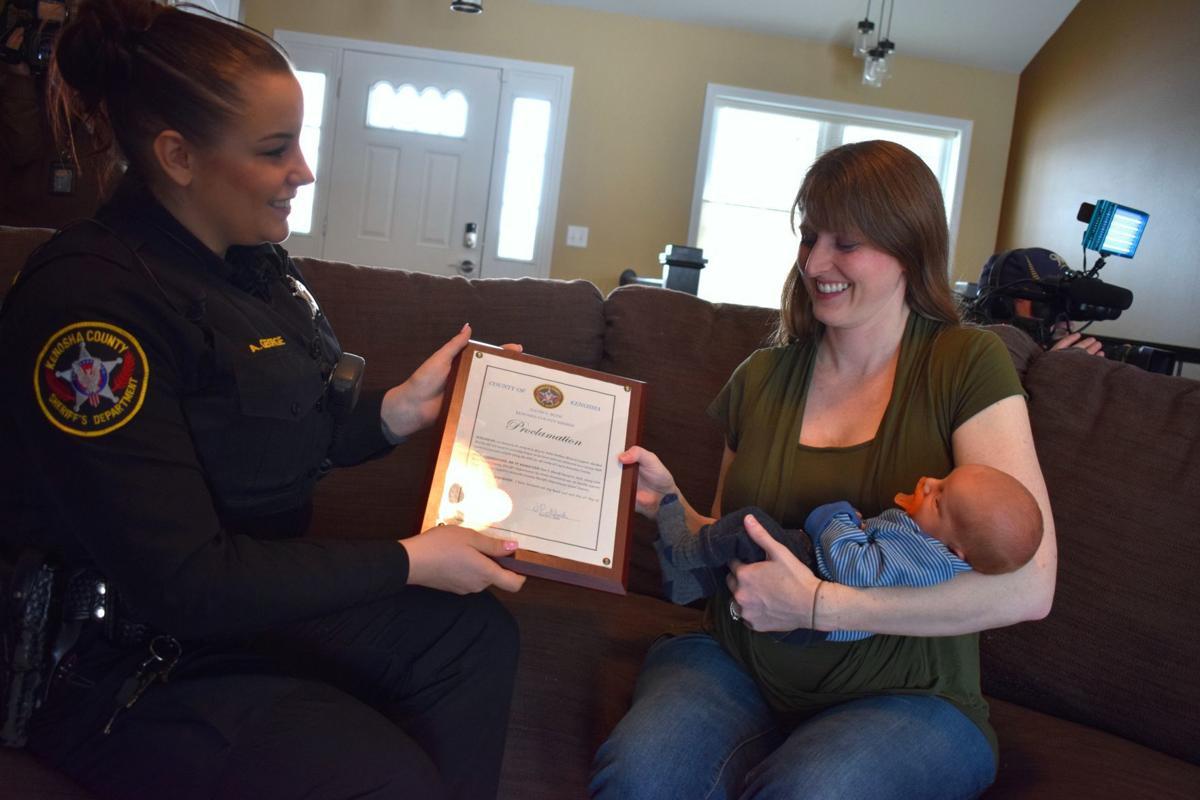 Deputy Allison George with Holly Leppert