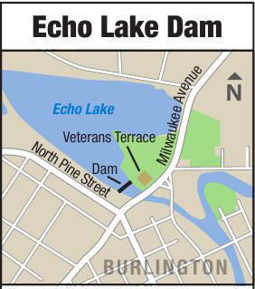 Echo Lake map in Burlington with dam