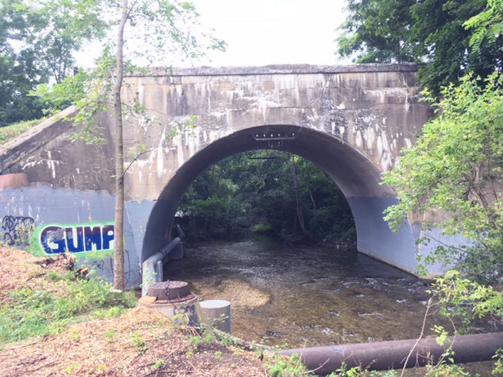 Historic railroad bridge White River Main Street