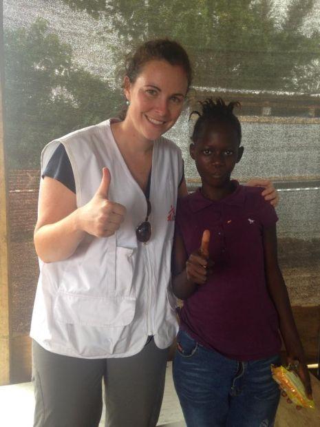 Emily Veltus and an Ebola survivor