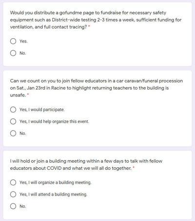 Three questions from REU's survey