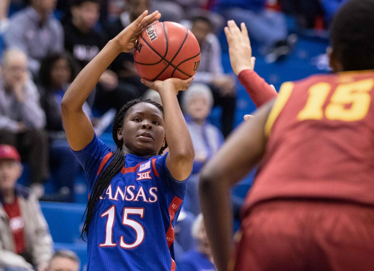 Zakiyah Franklin shoots the ball above her head against Iowa State