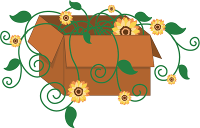 Illustrated vines with sunflowers swirl out of a cardboard box