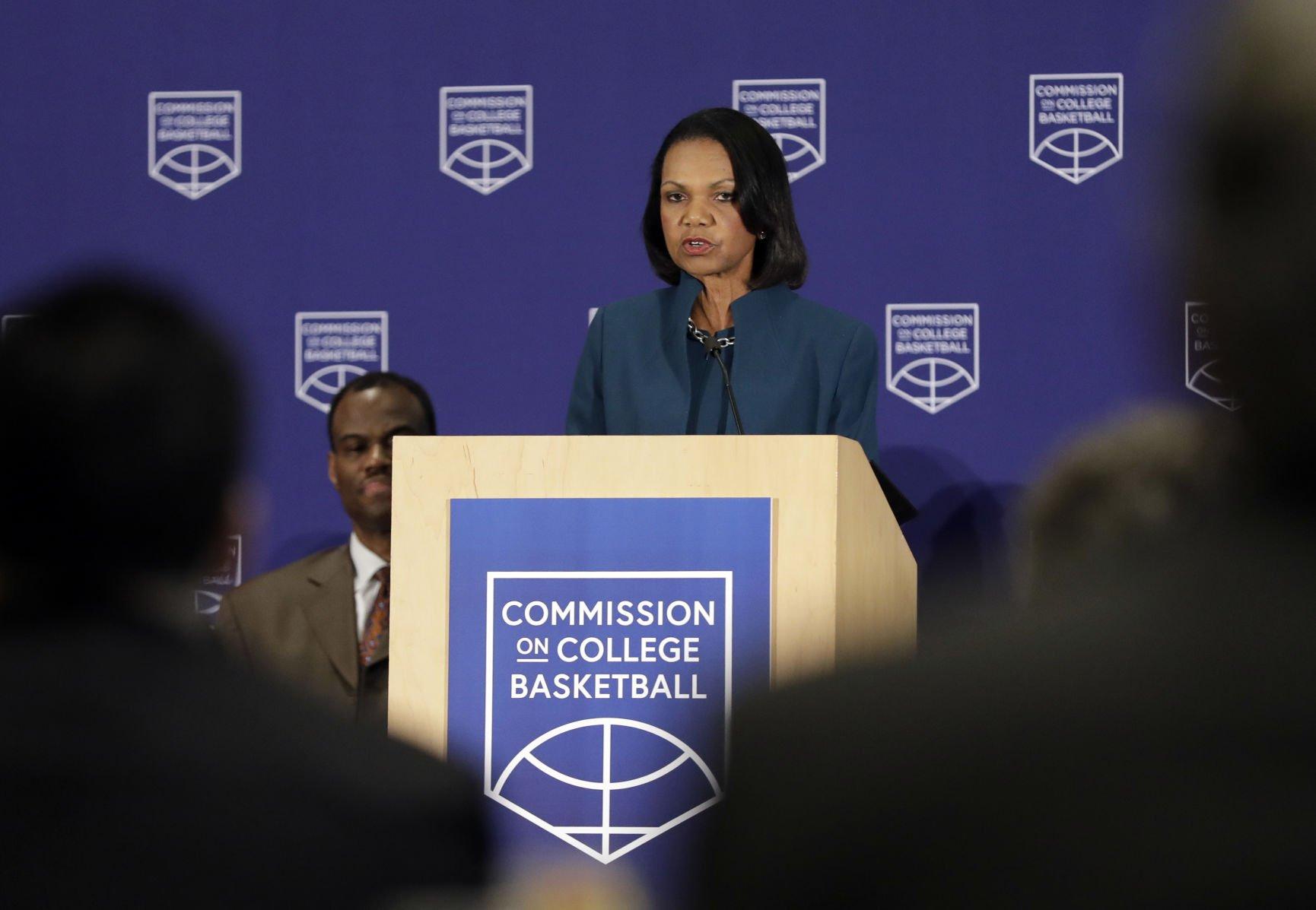 College Corruption Basketball Condoleezza Rice Commission proposes