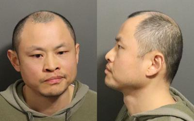 A mug shot of Liuqi Gu. There is one front facing photo and one of the side of his face