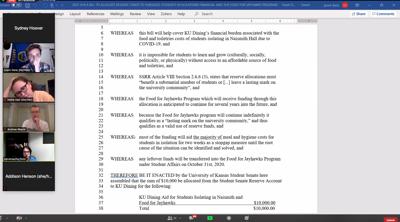 Student Senate covering Naismith isolation funds