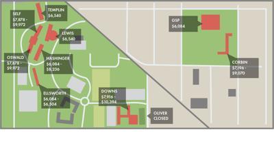 KU dorm map and rates