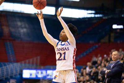 Sophomore Brooklyn Mitchell shoots the ball against Emporia in Allen Fieldhouse