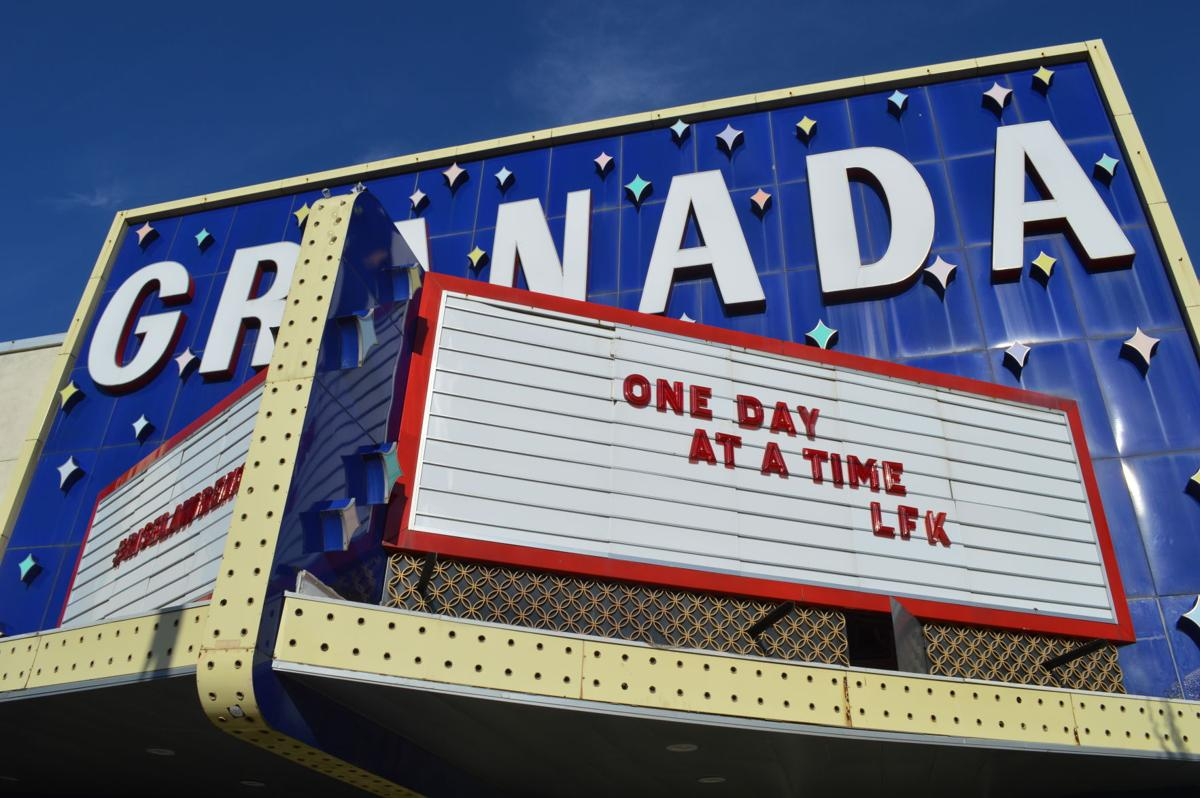 "The marquee of The Granada reads ""One Day At A Time, LFK"""