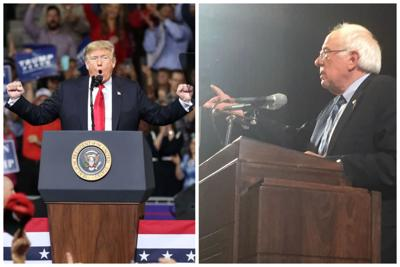 Donald Trump speaks at a podium with his arms extended, and Bernie Sanders speaks at a podium in a two-photo collage