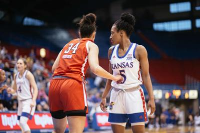 Lexi Gordon of Texas Tech stands guard in front of Aniya Thomas during a matchup in Allen Fieldhouse