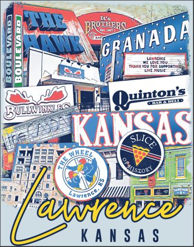 A t-shirt design shows Lawrence landmarks, including businesses and restaurants
