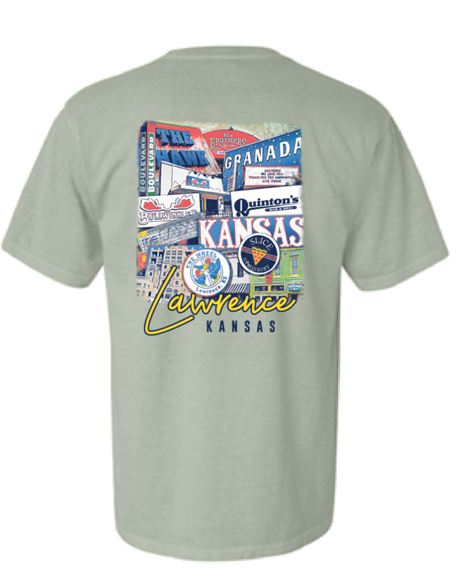 The back of a t-shirt shows Lawrence landmarks, including restaurants and businesses