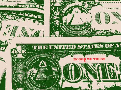 Illustration of dollar bills with 'In God We Trust' highlighted