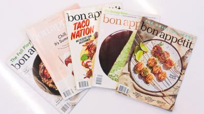 Five Bon Appetit magazines sit in a semicircle