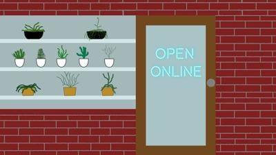 "Graphic of a storefront with a sign that reads ""Open Online"""