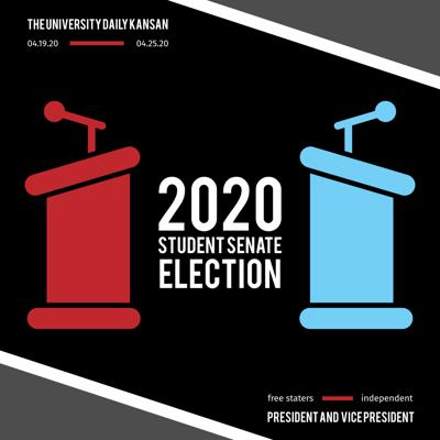 Two illustrated podiums face each other with the words '2020 Student Senate Election' between them
